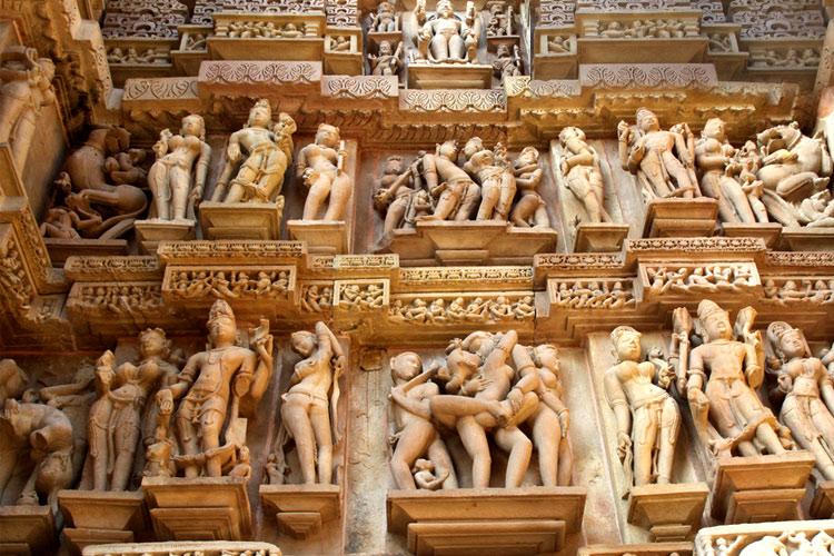 Stone carved erotic sculptures, khajuraho, india